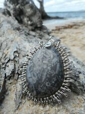 Large Abstract Jasper Wire Sculpted 925 Sterling Silver Pendant