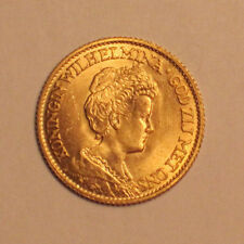 RARE 1913 10G QUEEN WILHELMINA NETHERLANDS GOLD COIN BU