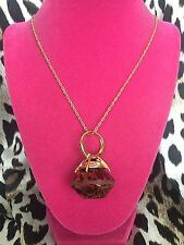 Betsey Johnson Vintage HUGE Lucite Clear Leopard Print Diamond Ring Necklace