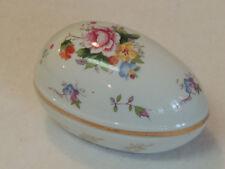 Vtg Porcelain Easter Egg Trinket Box W Lid Floral & Gold Design By Shackman (#3)