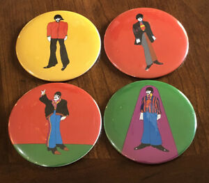 The Beatles Original 1968 Pin Back Button Set of 4 King Features England