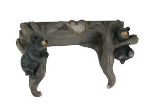 Wood Love To Hang Out Black Bear Decorative Shelf Wall Sculpture