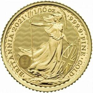 Britannia 2021 (10 £) 1/10 oz or - pureté 0.999 BU en capsule
