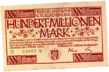 1923 Germany HESSEN 100.000.000 / 100 Million Mark Banknote