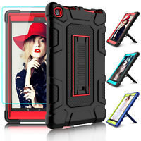 For Amazon Kindle Fire HD 8 8th Gen 2018 Rugged Hard Stand Case+Screen Protector