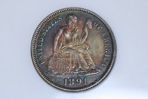 1891 10C Seated Liberty Silver Dime NGC MS62 Color Toned BU UNC MS