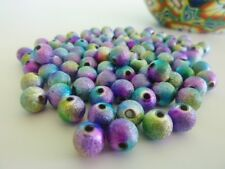 100 pce Multicolor Fluorescent Acrylic Glitter Beads 8mm Jewellery Making Craft
