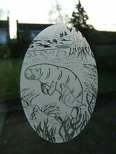"""Frosted Glass Look MANATEE Window Decoration 10.5""""x16"""""""