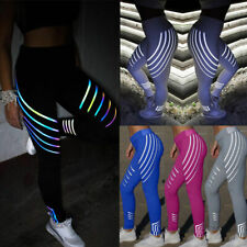 Reflective Womens High Waist Yoga Pants Sports Leggings Running Stretch Trousers