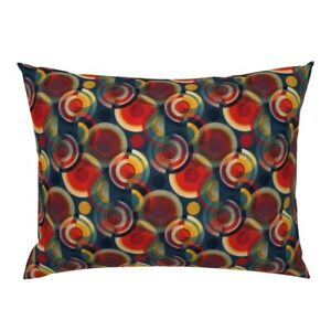Bauhaus Circles Red Blue Orange Pillow Sham by Roostery