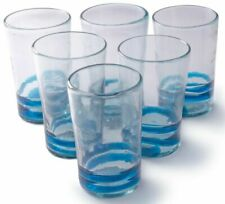 Orion Mexican Glassware Turquoise Serpentine 18 oz Tall - Set of 6