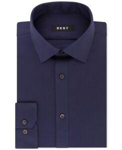 DKNY Mens Dress Shirt Solid Midnight Blue Size 15 Slim Fit Stretch $85 115