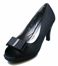 LADIES SLIP-ON BLACK SATIN PEEP-TOE ELEGANT EVENING PROM COURT SHOES SIZES 3-8