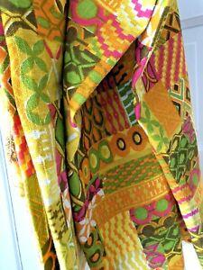 Vintage 60s MID-CENTURY Modern BARKCLOTH Fabric GABRIELLE CIE Linen GEOMETRIC
