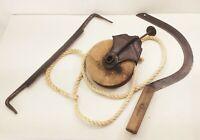 Vtg antique cast iron pulley draw knife wheat sickle scythe farm tool lot