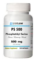 Phosphatidyl Serine 500, PS500, PS 500, 500mg Serving Big Bottle 120 Capsules
