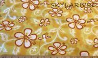 "1.7Yds 60""W Hawaiian Print Hibiscus Floral Yellow Cotton Blend Fabric"