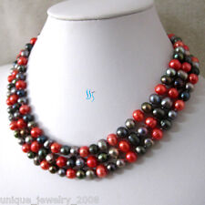 """Multi Color Freshwater Pearl Necklace 50"""" 6-8mm Red Gray peacock"""