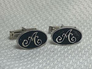 "Vtg Oval Black And Silvertone Script Initial ""A"" Men's Cuff Links Jewelry"