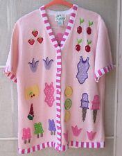 Quacker Factory Cardigan sweater Short Sleeve Summer Ice Cream Pink size Medium