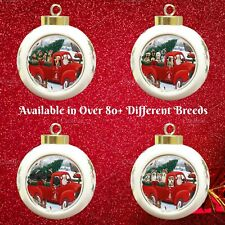 Christmas Santa Express Delivery Red Truck Round Ball Ornament, Dogs, Cats, Pet
