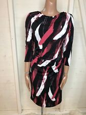 JASPER CONRAN Black & Pink Brushstroke Print Bodycon Dress 12 BNWT