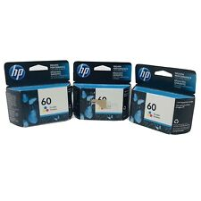 Genuine HP 60 Tri-Color Ink Cartridges X3 Packs Boxes Lot