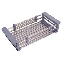 Stainless Steel Dish Drain Rack Telescopic Filter Basket Kitchen Sink Multi R6C3