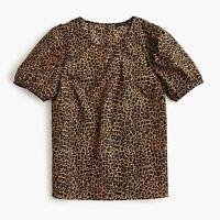 NWT J.Crew Puff-Sleeve Top In Leopard Print Cotton Poplin Size XS