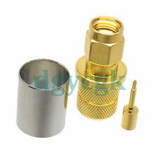 2pcs connector SMA male plug crimp RG8 LMR400 RG213 RG165 cable M gold