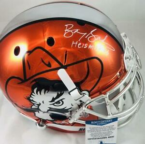 Barry Sanders signed Oklahoma State chrome full size AUTHENTIC helmet  Bas 60