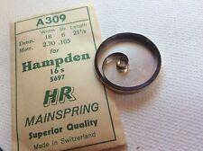 Watch Mainspring Swiss Made A 309 Nos Hampden 16S Hr 5697 Pocket