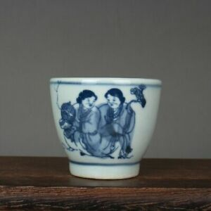 1.96 inch Chinese Blue and White Porcelain Character Design Teacup Cup 50 ML