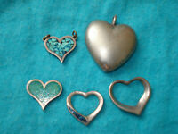 LOT OF VINTAGE SILVER OPEN HEART CHARMS PENDANTS TURQUOISE INLAY VERY TIFFANY