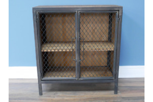 Small Industrial Cabinet Rustic Cabinet with Mesh doors 7474