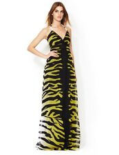 New Alice By Temperley Green Silk Animal Print Talisman Long Summer Dress,14