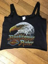 Vintage 70s 80s Womens Harley Lace Tank Top T Shirt Ladies L Biker Chick Eagle