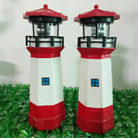 LED Solar Powered Lighthouse Statue Rotating Porch Garden Outdoor Lighting Decor