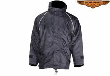 Men's Motorcycle Black Textile Hooded Jacket w/ Zippered Front Closure & Pockets