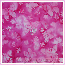 BonEful Fabric FQ Cotton Quilt BATIK Pink Breast Cancer Lady Butterfly Ribbon US