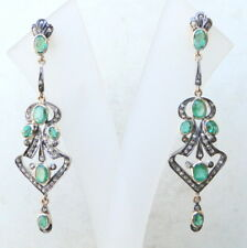 VICTORIAN DIAMOND EMERALD 14 K GOLD SILVER STUD EARRING