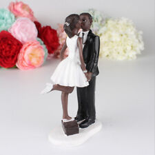 Wedding Resin Groom Kissing Bride Black Couple Figurine Cake Stand Topper