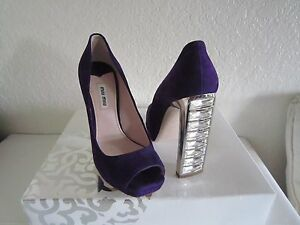 MIU MIU  Purple Suede Jeweled Heel Peep Toe Pump  Shoe Sz 37 1/2 Us 7.5 $990+tax