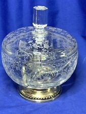 Cambridge elegant glass Chantilly etched candy box with sterling silver base