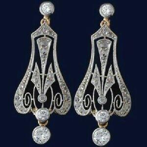 14K White Gold FN 0.85 CT White Round Diamond Art Deco Lever Back Earring 925 SS