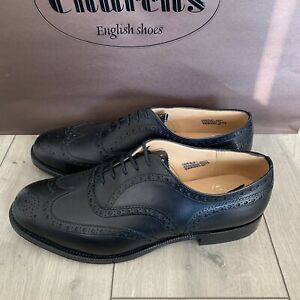 Church's Brogue Black Calf Leather FRANKLIN shoes Size 10.5G UK Wide Fit
