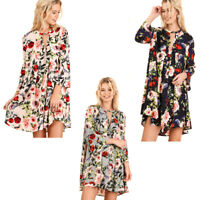 UMGEE Womens Boho Floral Bohemain Keyhole Chic 3/4 Bell Sleeve Dress S M L