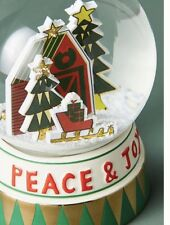 "Anthropologie MOLLY HATCH Snow Globe GREETINGS Peace Joy Christmas 4.5"" NIB"