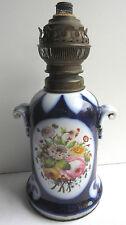 Lampe à pétrole bleu de four, Napoléon III, Porcelaine de Paris Bayeux Valentine