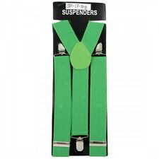 NEW PUNK ELASTIC CLIP ON Y-SHAPE SUSPENDERS WIDE SHAMROCK IRISH GREEN SP-17 BIG